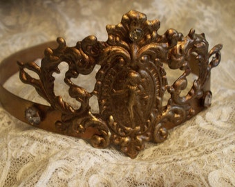Vintage Style Angel Filigree Crown 1800s Replica Brass with 3 Large Rhinestones
