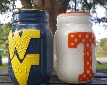 Sport Mason Jar, home decor, team spirit, country crafts, Jar decor, painted glass
