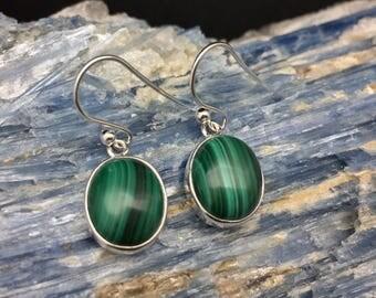Malachite Earrings // Silver Malachite Earrings // 925 Sterling Silver // Simple Oval Setting // Green Malachite Earrings