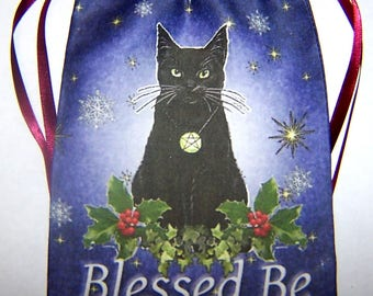 Yule Black Cat Tarot Card Bag, Ideal for most Angel, Fairy Or Wiccan Cards