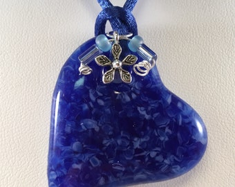 Fused Glass Jewelry, Heart Pendant, Fused Glass Necklace, Blue Heart Glass Pendant with Satin Cord, Charms and Beads