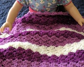 Doll Blanket, Crocheted Doll Blanket