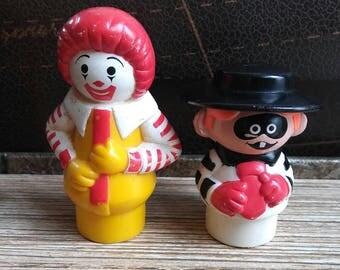 Super Rare Vintage Fisher Price Ronald McDonald and Hamburglar Little People