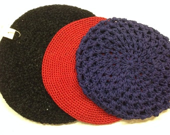 One Vtg NEW Black Cotton Tam Hat