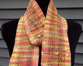 Lovely Handwoven Scarf in muted fall colors for men or women, Lightweight Cotton Scarf, natural fibers, hand dyed yarn, Long scarf, Weaving