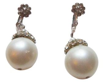 Faux Pearl and Rhinestone Drop Earrings Vintage 1960 Bridal Earrings Party Earrings