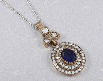 Turkish Ladies Necklace 925 Sterling Silver Blue Sapphire Stone Pendant 19.7''(n37-2)