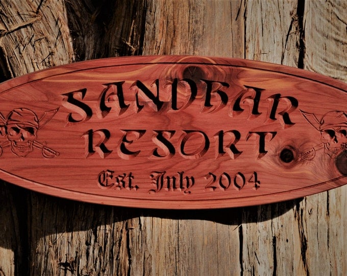 Personalized Outdoor Wood Sign Pirate Beach Oval Tree House Sign Personalized Red Cedar Outdoor Sign Resort Sign Pirates Caribbean Decor