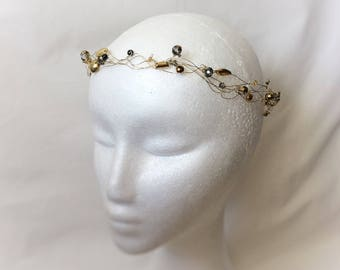 Gold and grey wedding crown, for the alternative bride, bridal circlet with rhinestones and beads, wedding halo headpiece, prom headdress