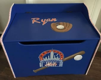 Mets Toy Box, Baseball Toy Box, Hand Painted Toy Box, Hand Painted Kids