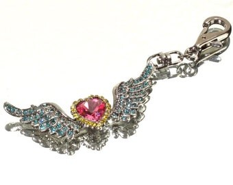 Pink & Turquoise Marcasite Crystal Winged Heart Purse Charm on Gunmetal Grey Swivel Hook