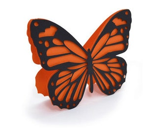 Orange & Black Butterfly Card , Blank inside , Free Confetti , PaperCut , 3D Pop UP , Spring , Flying , Summer