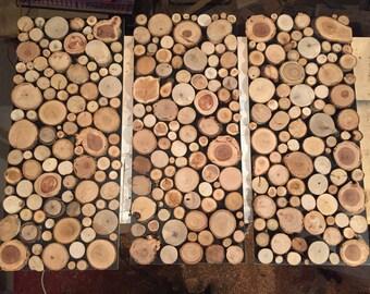 Mural of wood panes