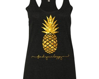Pineapple Tank top in Gold Glitter or Gold Foil