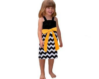 Black + Yellow Chevron Game Day Dress- Girls