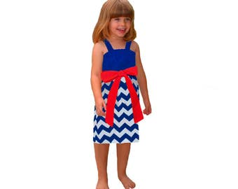 Red + Blue Chevron Game Day Dress- Girls