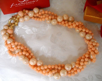 Majorca/Mallorca pearl necklace multi-functional (twisted/long/multi-strand) 6mm coral/12mm peach co Majorca pearls gold clasp faux majorica