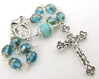 Car Rosary - Sea Blue Auto Rosary Beads with Sacred Heart Medal Centerpiece - Unbreakable One Decade Pocket Catholic Rosary - Catholic Gift