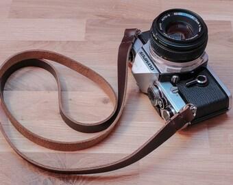Leather Camera Strap  | Thin Leather Camera Strap | Horween Chromexcel Leather Camera Strap | Ideal for Mirrorless, Film Camera