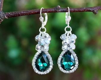 Emerald Green Cluster Earrings.Crystal.Jeweled.Silver.Statement.Bridal.Wedding.Formal.Long Earrings.Vintage.Luxury.Bold.holiday.Handmade.