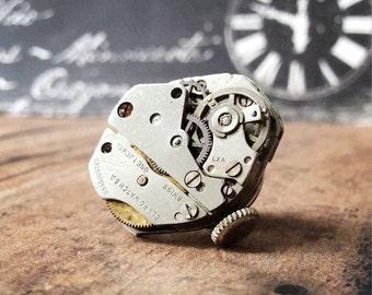 Claro Watch Movement, Silver Tie Tack, Claro Tie Tack, Steampunk Tie Tack, Lapel Pin, Claro Lapel Pin, Silver Tie Tack, Tie Pin, Unique Gift