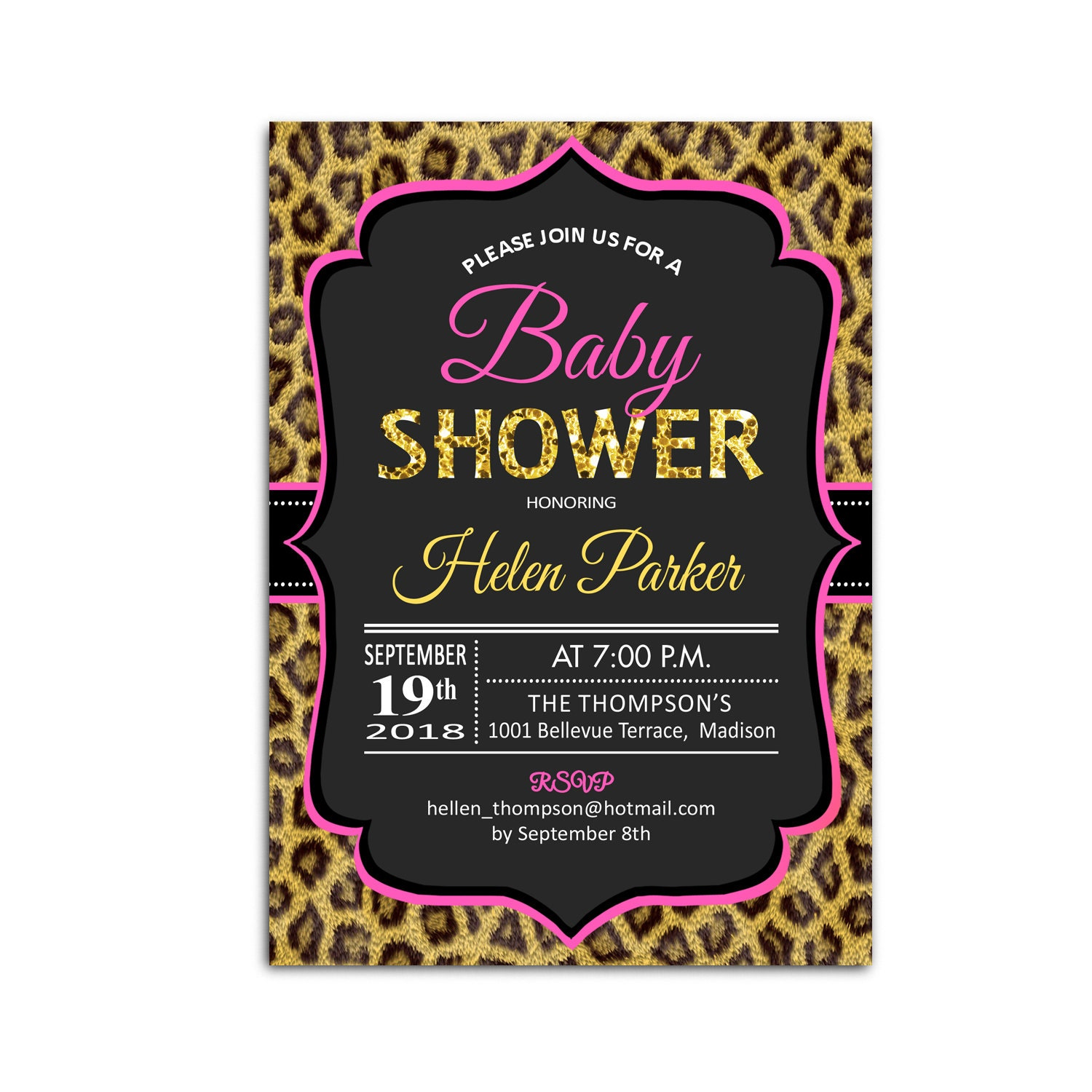 Cheetah Baby Shower Invitation / Leopard Print / Black Glitter Gold ...