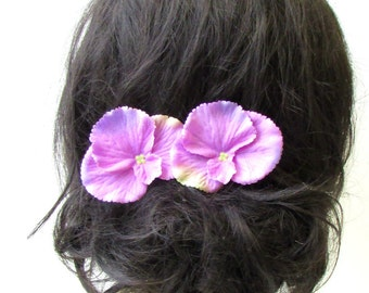 2 x Pink Purple Violet Flower Hair Pins Pansy Bridesmaid Clip Accessory Vtg 1790