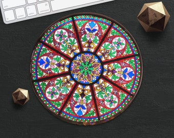 Stained Glass MousePad Church Mouse Pad Colorful MouseMat Round Morocco MousePad Teacher Gift for Her Girl Mouse Mat Modern Desk Accessories