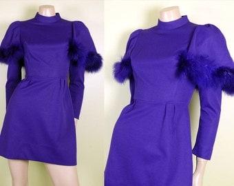 Deep Purple Vintage 1960's Mod FEATHER TRIM  GoGo Mini Dress size XS - S