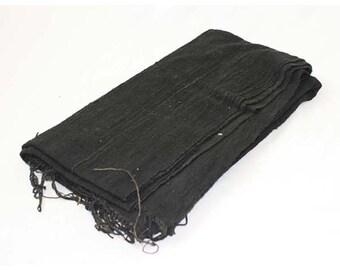 "Authentic Black Mudcloth Fabric African Mali Mud Cloth Handwoven 64""x43"""