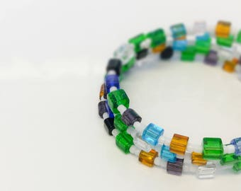 Crystal Square Glass Beaded Memory Wire Stacking Wrap Around Bracelet. Holiday Beach Bracelet. Orange, Blue, Grey, White and Green Cube Bead