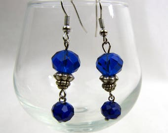 Cobalt Blue Crystal Bead Drop Earrings ~ Handcrafted ~