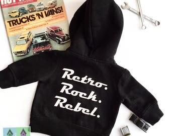 Retro kid's hot rod zip hoodie in black