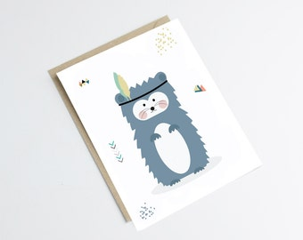 """Postcard """"INDIAN HEGDEGHOG"""" - original print - perfect for a baby room - illustration hedgehog with feather - indian style"""