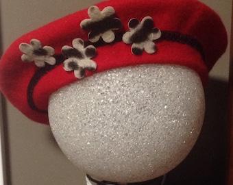 Vintage Red Wool Designer Hat By Soprattutto, Capelli, vintage Wool Tam Hat, Vintage Clothing, Wool Hat, Vintage Designer Hat