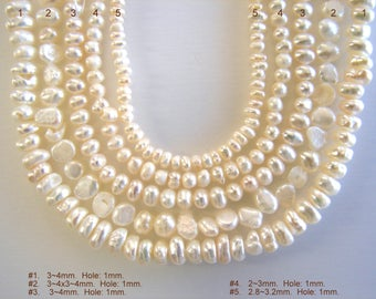 Natural Pearl Beads Strands, Nuggets, Ivory, All sizes shown on pictures.
