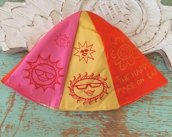 Adorable Bright and Sunny Vintage Disneyland Cotton Summer Hat Child Size
