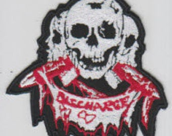 Discharge punk hardcore embroidered patch - 3 skulls
