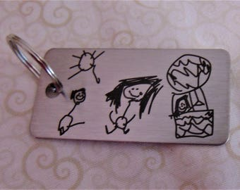Child's Artwork Drawing on Key chain,Or Handwriting -  Laser Engraved - Brushed Stainless Steel Gift- Perfect Gift for Dad Father's Day Gift