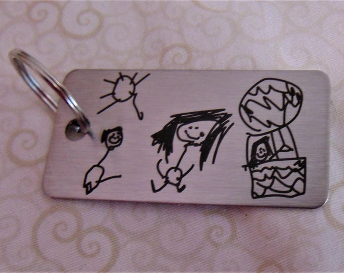 Child's Artwork Drawing on Key chain,Or Handwriting - Brushed Stainless Steel Gift- Father's Day Gift, Great Gift for parents, grand parents