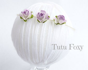 Lavender flower tieback, Lavender flower headband, newborn flower Headband, baby flower headband, newborn flower tieback, purple flower