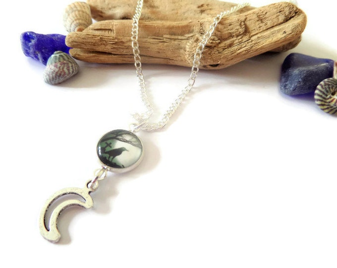 Raven necklace, Grave necklace, pagan necklace, Goth necklace, vampire jewellery, raven jewelery, silver moon gift, raven gift, fandom gift