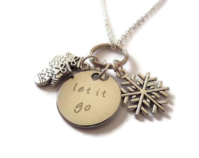 Let It Go necklace, princess gift, princess necklace, winter necklace, snow necklace, snowflake gift,  sister gift, frozen gift, elsa gift