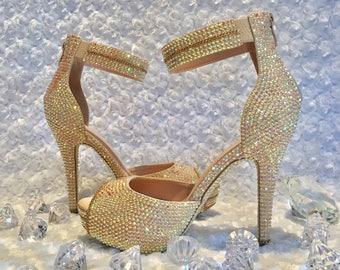 Womens Rhinestone Heels, Custom Bling Ankle Strap Heels, Rhinestone Shoes, ChampagneCrystal Heels, Rhinestone Peep Toe Heels