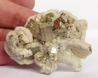 Beautiful Calcite with super lustrous Pyrite cube,Crystal, Mineral