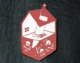 House and Knife Pin, red and white, laser cut acrylic