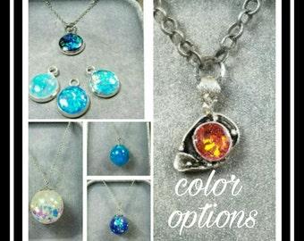 Memorial Ash Pendant/ Memorial Jewelry/ Ash Necklace/Cremation Necklace/Pet Memorial/64 Color Options