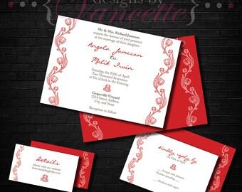 Floral Wedding Invite, Floral Wedding Invitation, Floral Wedding, Floral Invite, Floral Invitation, Floral Wedding Set, Modern Floral Set