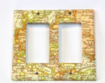 Map Themed Light Switchplate Cover Plate Double Rocker Panel Upcycled Neutral Tones Plastic