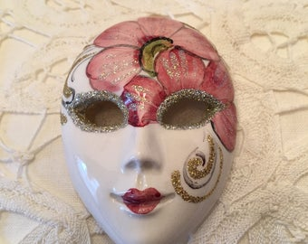 Small Mask ~ Mardi Gras ~Ceramic ~ Pink and White ~ Miniature Mask ~ Pendant ~ Vintage